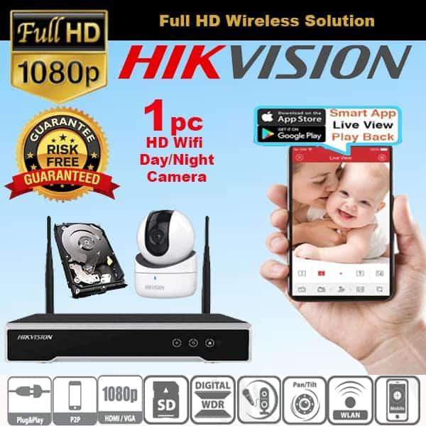 [HDB/CONDO] HIKVISION HD WIFI WIRELESS IP CAM Package for 1 Camera View on  HP Anywhere 24 Hrs REC
