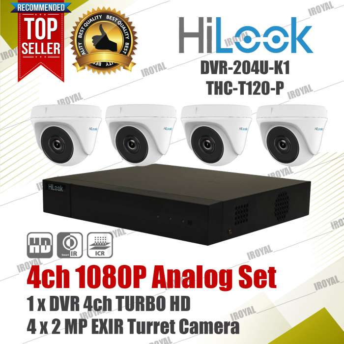 HiLook Analog Set 4 Turret Camera 1 Turbo HD DVR 4ch 1080P