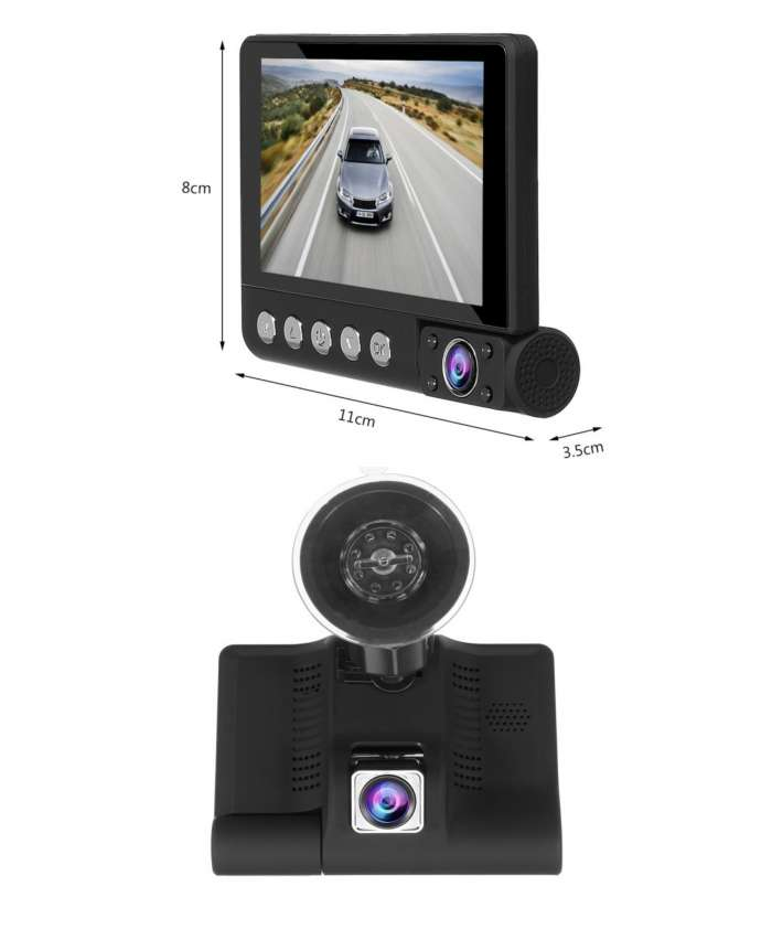 DCZ35-3 4 Inch FHD 1080P Car DVR 3 Lens Dash Cam