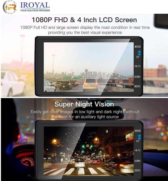 DCZ29-2 4inch FHD 1080P Dashboard Front and Back Car Camera Recorder