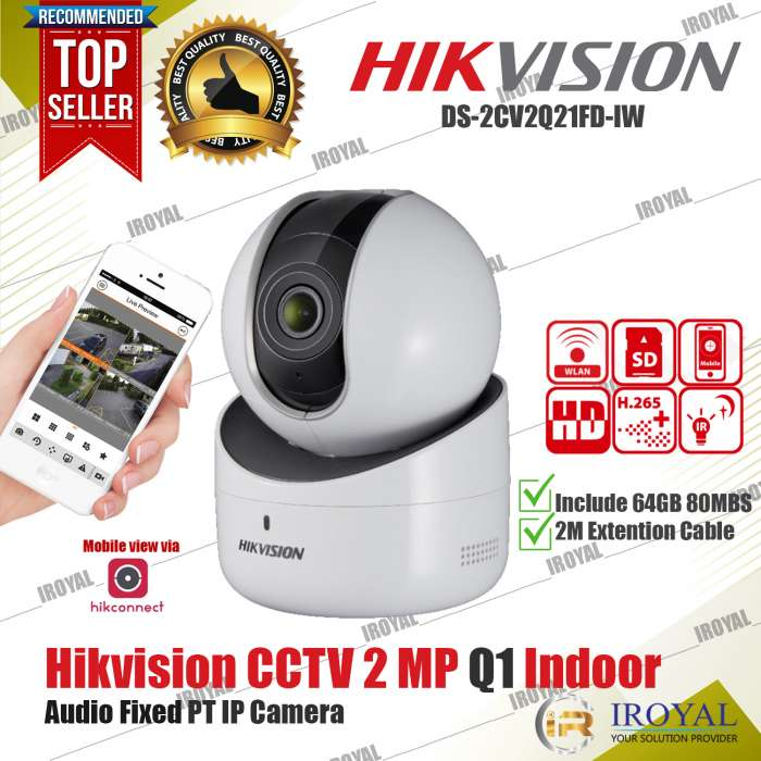Hikvision DS-2CV2Q21FD-IW 2 MP Q1 Wireless Camera Night Vision Baby Monitor CCTV with Extension Cable