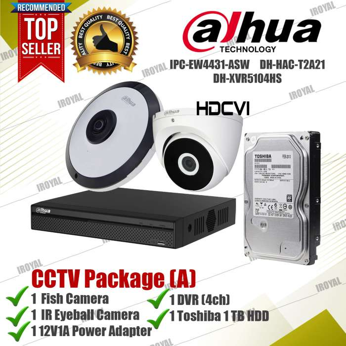 Dahua CCTV Package (A) 1 4mp Fishcam 1 IR Camera 1 DVR 1 Toshiba 1 TB HDD and Adapter