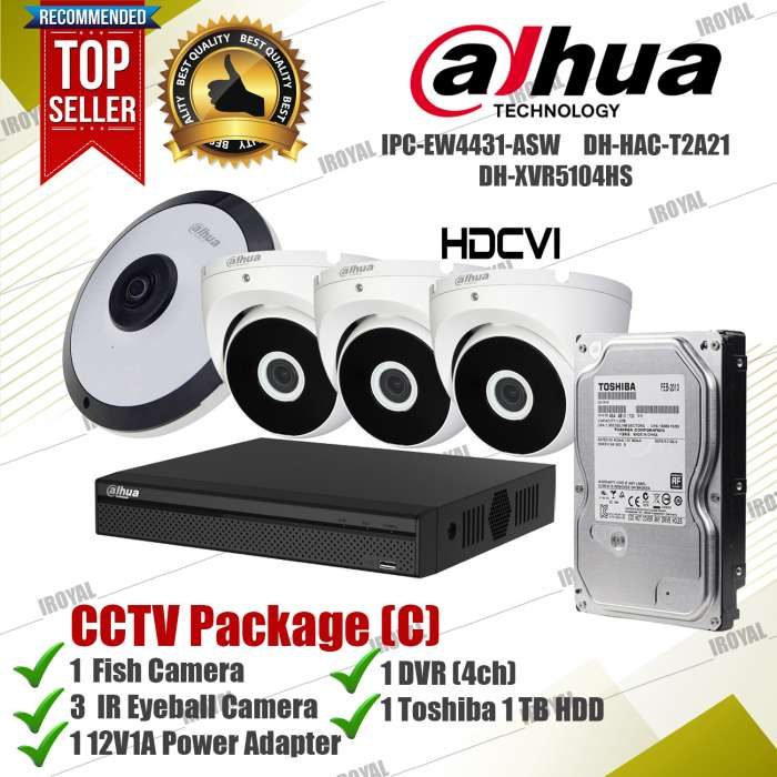 Dahua CCTV Package (C) 1 4mp Fishcam 3 IR Camera 1 DVR 1 Toshiba 1 TB HDD and Adapter