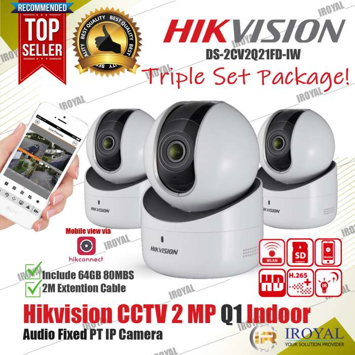 Hikvision DS-2CV2Q21FD-IW Triple Set Package Promo 2 MP Q1 Wireless Camera Night Vision Baby Monitor