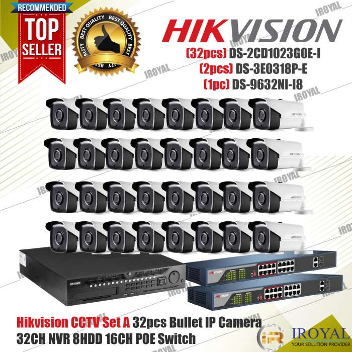 """(32pcs) DS-2CD1023G0E-I 2 MP IR Fixed Network Bullet Camera 1/2.8"""" progressive scan CMOS 3D DNR 1920 × 1080@30fps Up to 30 m IR range 2.8 mm/4 mm fixed lens IP67 (2pcs) DS-3E0318P-E 16-Port 100 Mbps Unmanaged PoE Switch Optional 820 ft (250 m) Extended Transmission Mode • 16 x 10/100 Mbps Auto-MDIX Ports • IEEE 802.3at/af PoE Compliant • Up to 30 W per PoE Port, PoE Power Budget 230 W • 4 kV Surge Protection • IEEE 802.3x Flow Control Support • Plug-and-Play Installation (1pc) DS-9632NI-I8 32-ch 2U 4K NVR Up to 32 channel IP cameras can be connected Supports decoding H.265+/H.265/H.264+/H.264/MPEG4 video formats Up to 12 MP high-definition live view, storage and playback Up to 320 Mbps (or 200 Mbps when RAID is enabled) high incoming bandwidth ensures IP cameras can be connected 2 HDMI (different source) and 2 VGA (different source) interfaces 8 HDD can be used for continuous video recording"""