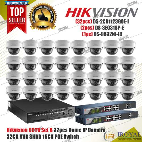 Hikvision CCTV Set B 32pcs Dome IP Camera 32CH NVR 4k 8HDD 16CH POE Switch