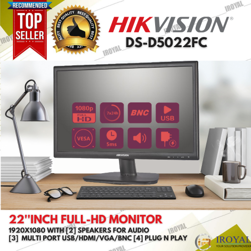 HIKVISION DS-D5022FC LCD Monitor Full HD with Audio Speakers
