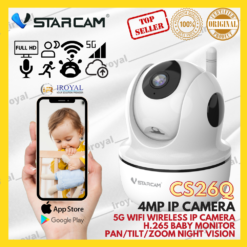 VSTARCAM CS26Q 4MP 5G WiFi Wireless IP Camera Pan Tilt Zoom H.265 Baby Monitor Surveillance CCTV Camera