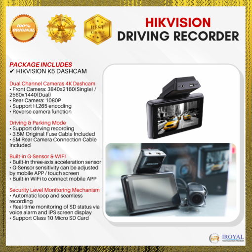 Hikvision K5 Dashcam WIFI 4K Front & Back Dual-Lens Car Camera Smart Voice Recognition Ultra-Wide Angle Night Vision 24HRS Parking Monitor Support:128GB Micro SD Card