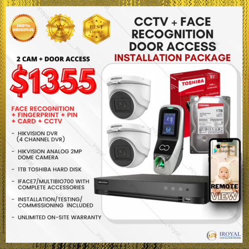HIKVISION CCTV 2 CAM Analog WiFi Security Camera & Video Intercom with Face Recognition Fingerprint Door Access Installation