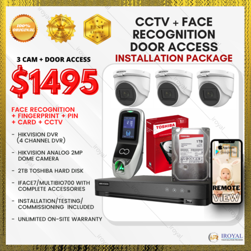 HIKVISION CCTV 3 CAM Analog WiFi Security Camera & Video Intercom with Face Recognition Fingerprint Door Access Installation (Copy)