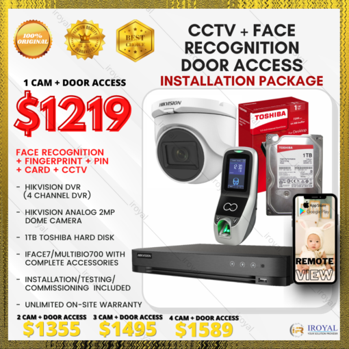 HIKVISION CCTV 1 CAM Analog WiFi Security Camera & Video Intercom with Face Recognition Fingerprint Door Access Installation