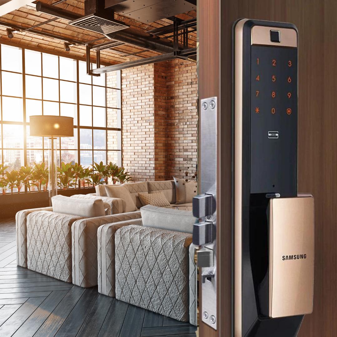 SAMSUNG SHP-DP609 Smart WiFi Digital Door Lock SMARTPHONE APP FINGERPRINT RFID Card NUMBER PAD MECHANICAL KEY Voice Guide Intrusion Alarm Door Access INSTALLATION PACKAGE