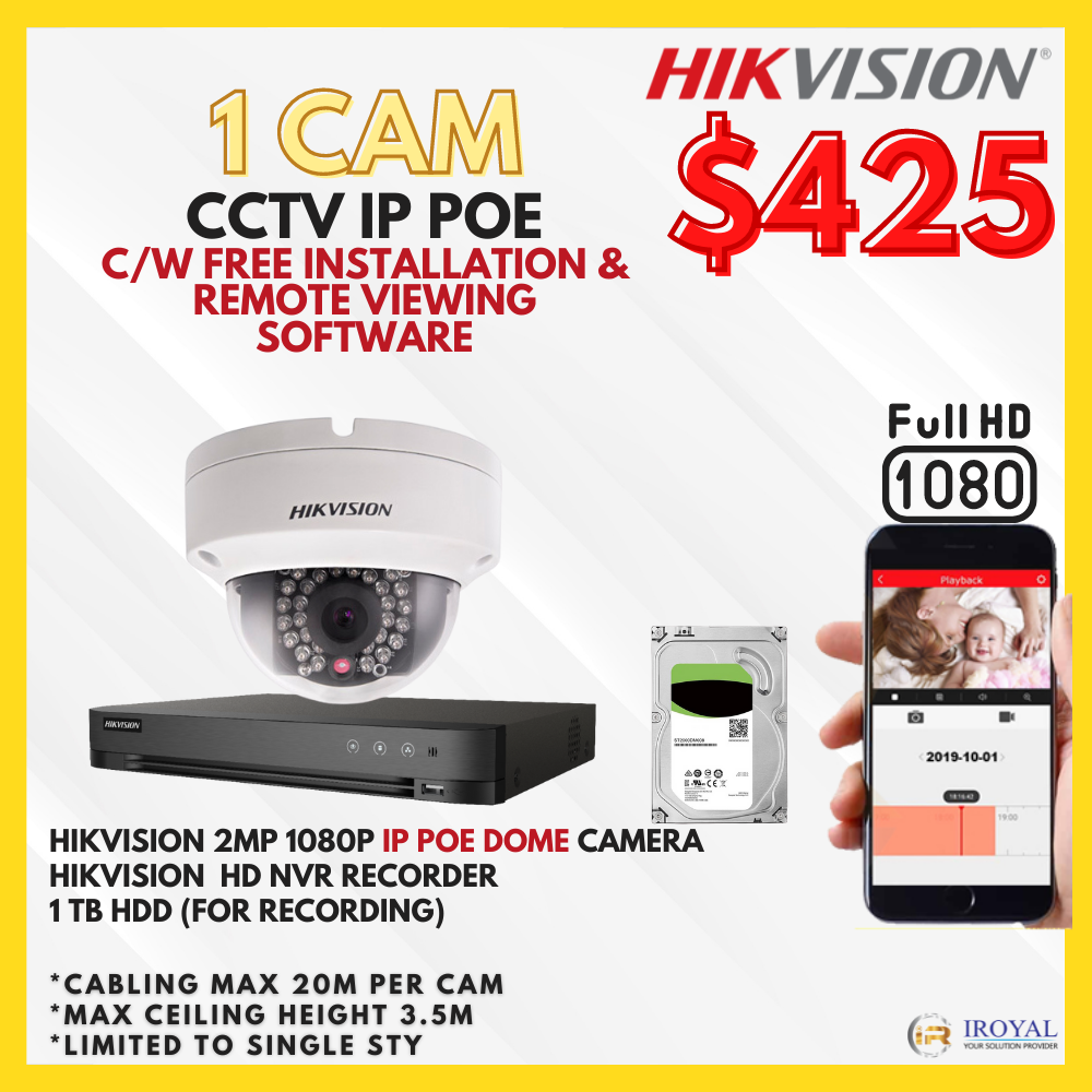 hikvision ip poe cam cctv package in singapore